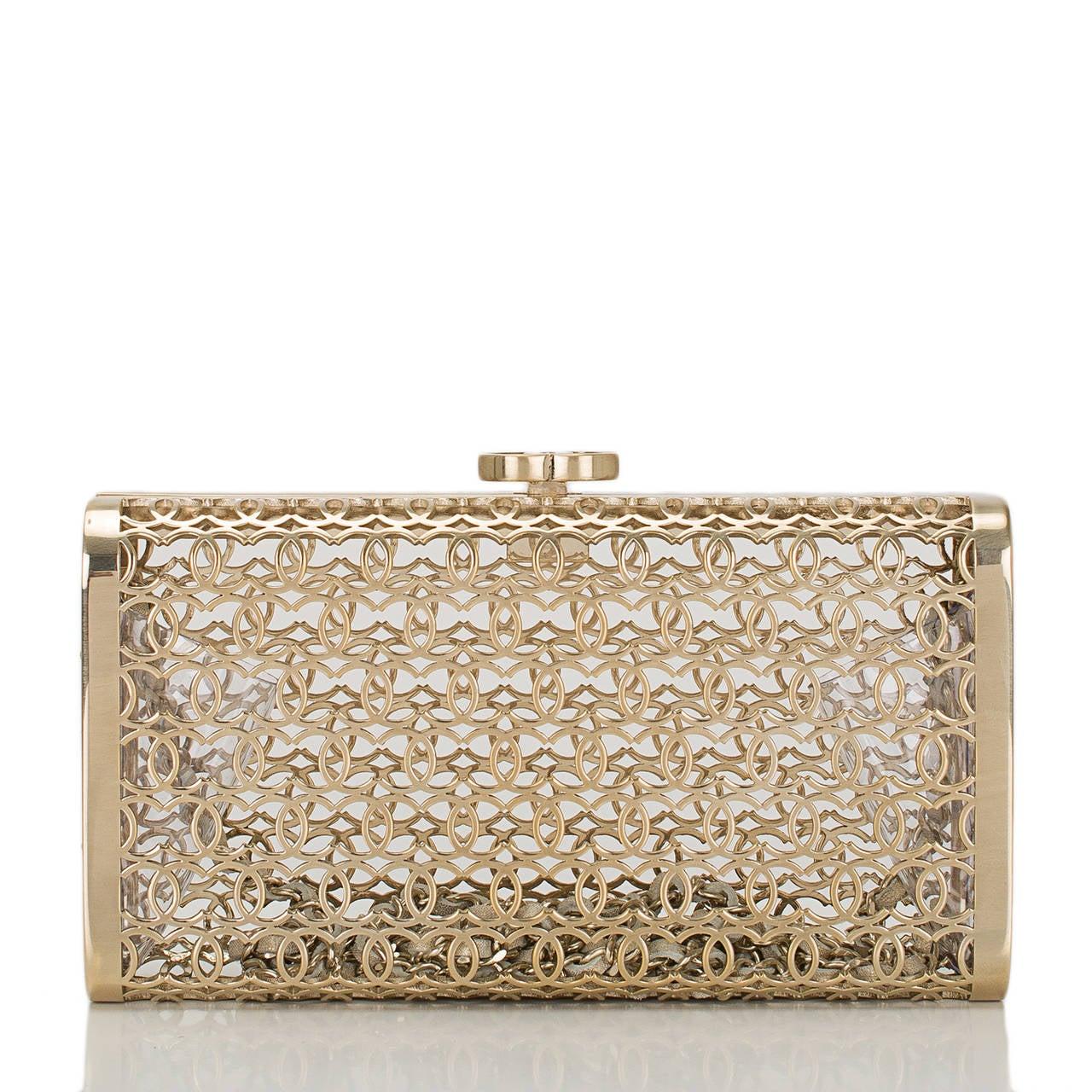 Beige Chanel Metal Moucharabieh Minaudiere Bag For Sale
