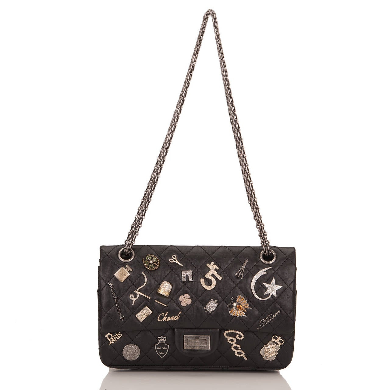 chanel black reissue 2 55 lucky charm bag at 1stdibs