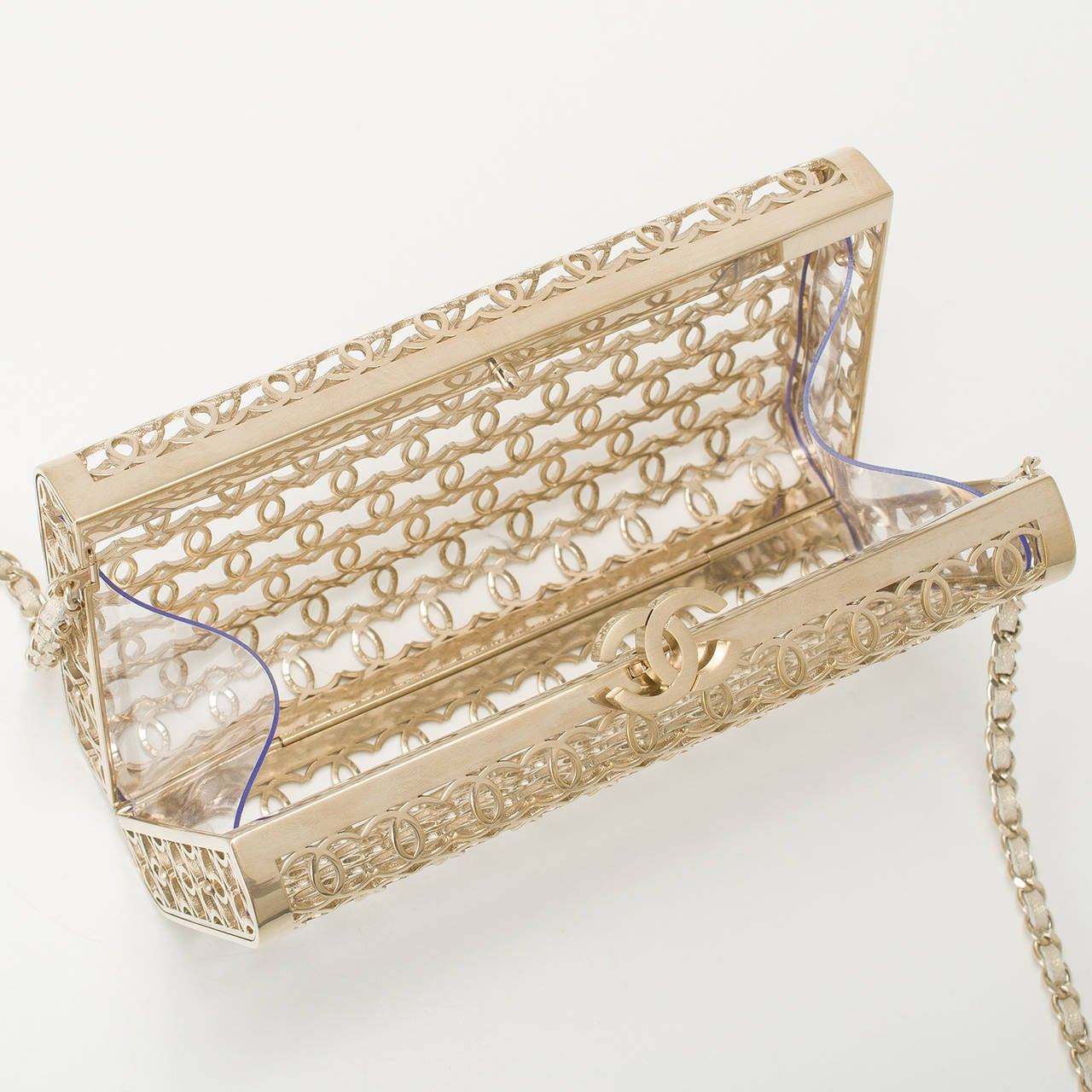 Women's Chanel Metal Moucharabieh Minaudiere Bag For Sale