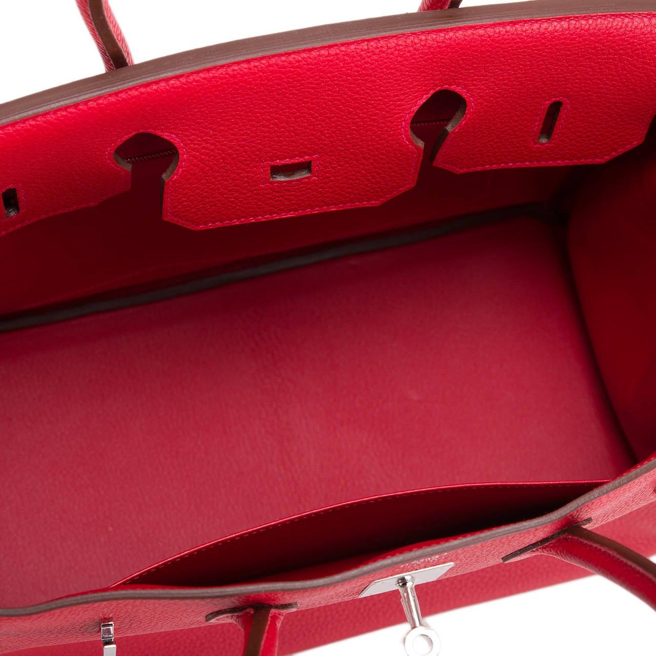 Hermes Rouge Casaque Clemence Birkin 35cm Palladium Hardware For Sale 1
