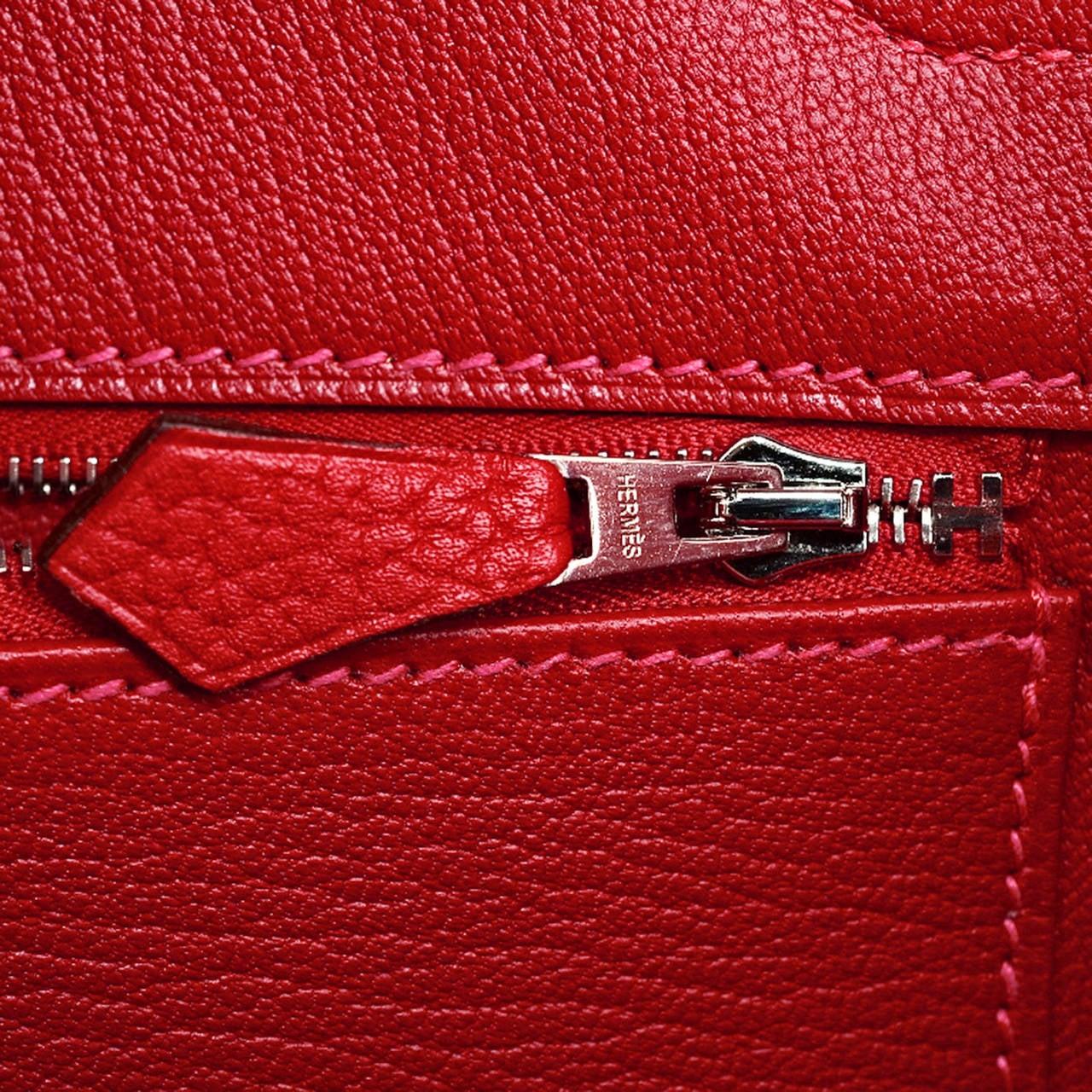 Hermes Rouge Casaque Clemence Birkin 35cm Palladium Hardware For Sale 2
