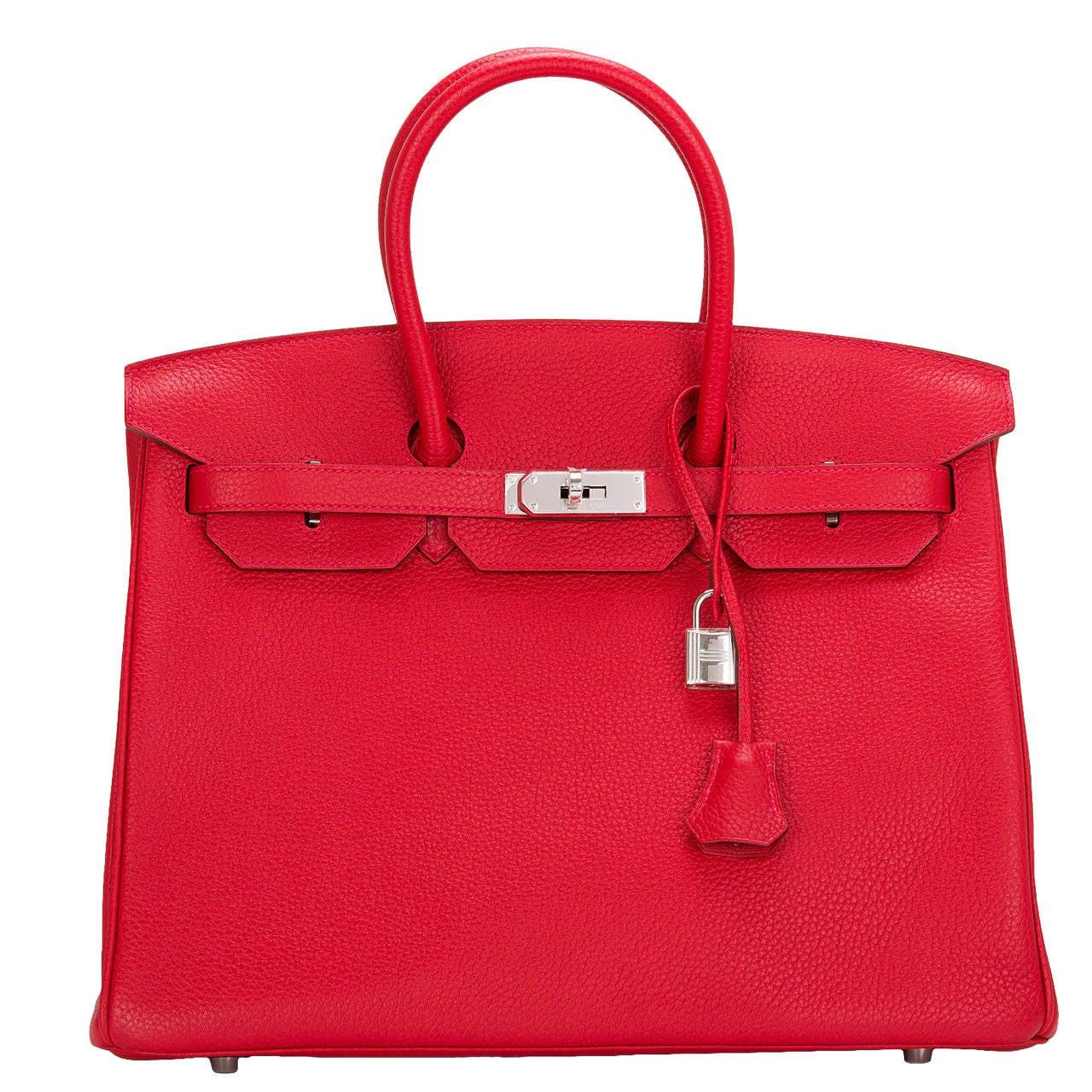 Hermes Rouge Casaque Clemence Birkin 35cm Palladium Hardware For Sale