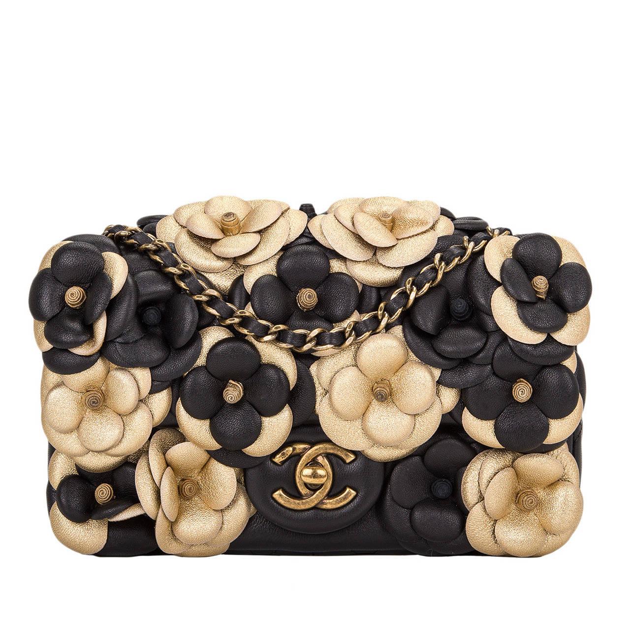 chanel black camellia flap bag at 1stdibs