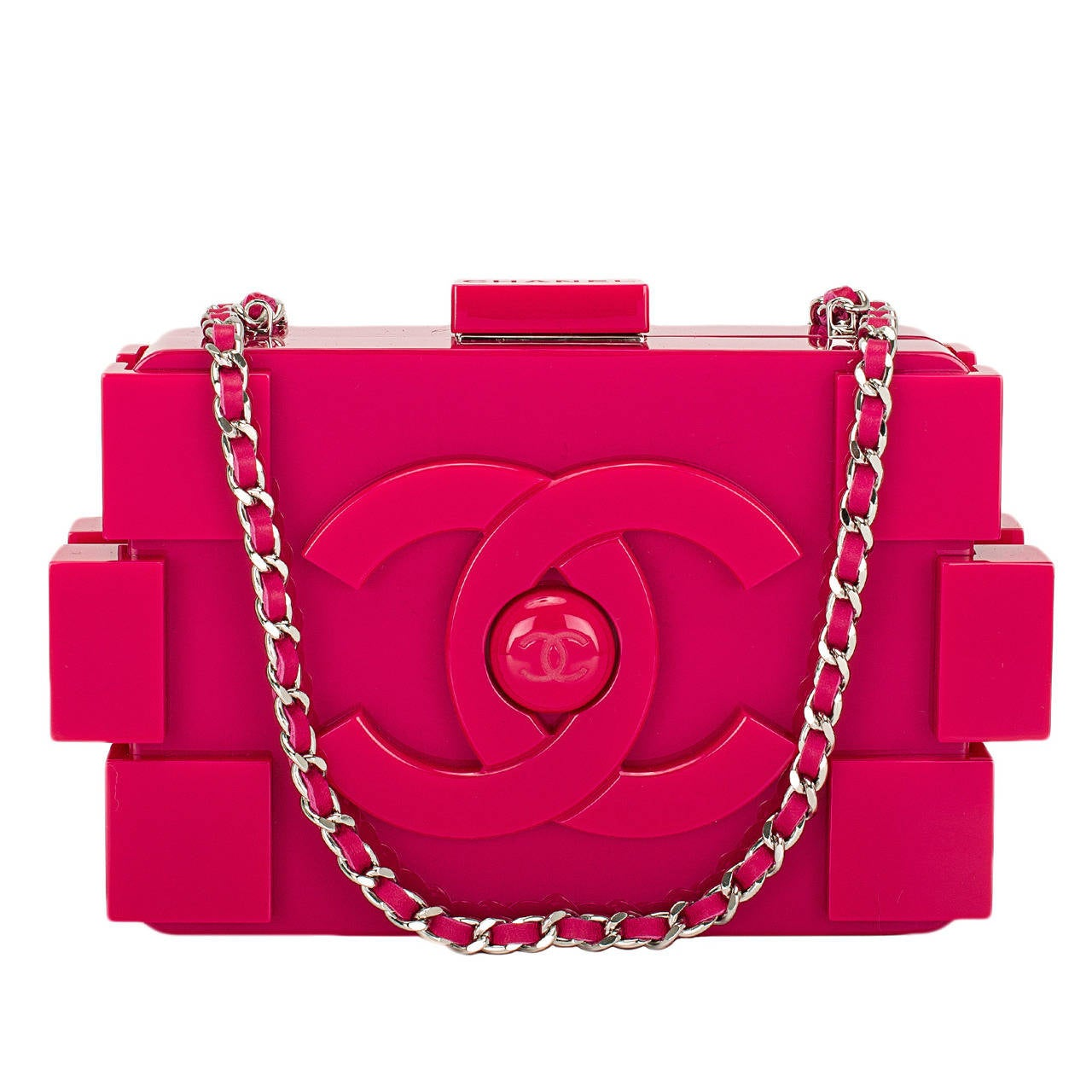 Chanel Fuchsia Pink Lego Clutch Boy Bag NEW
