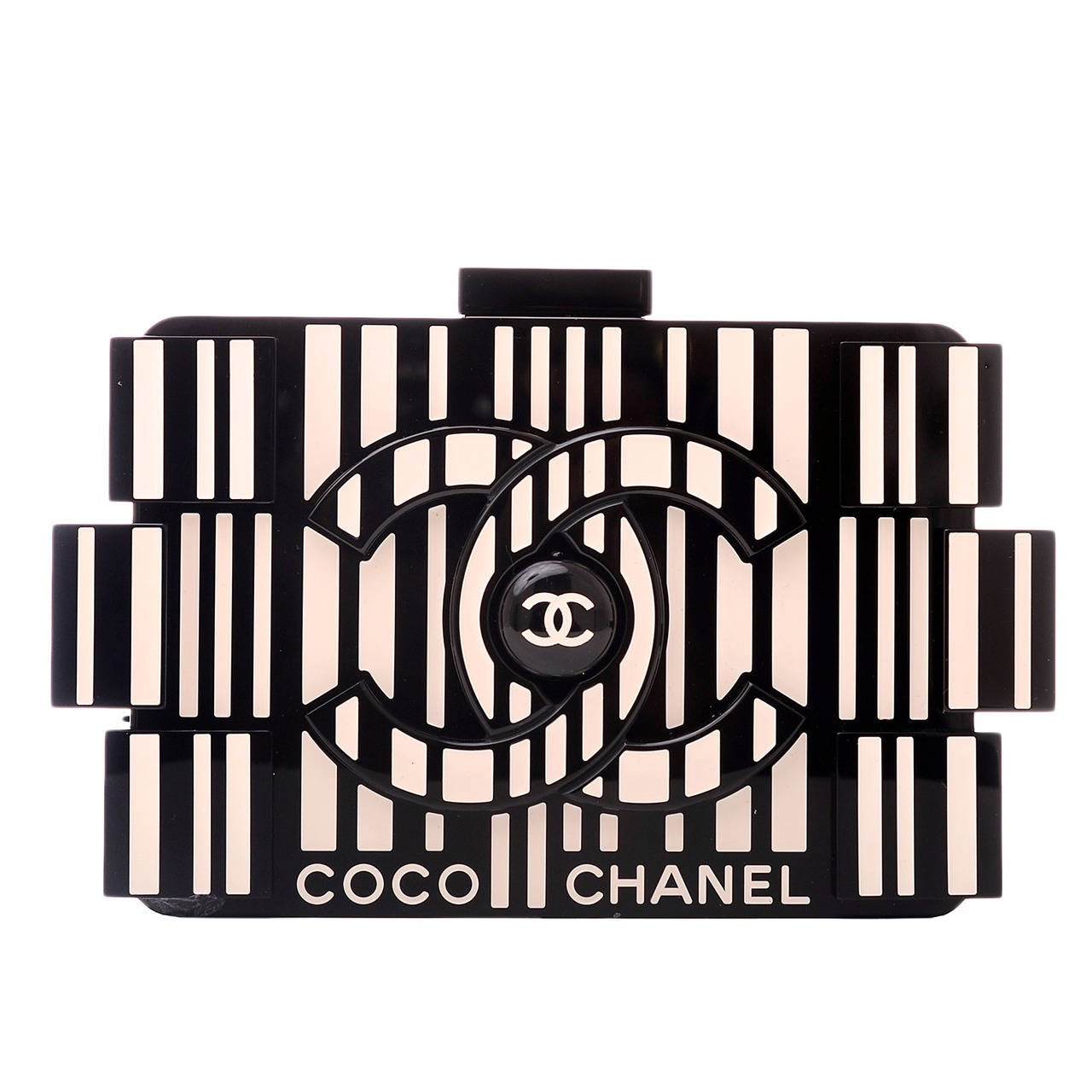 Chanel Limited Edition Op-Art Black And White Lego Boy Minaudiere For Sale