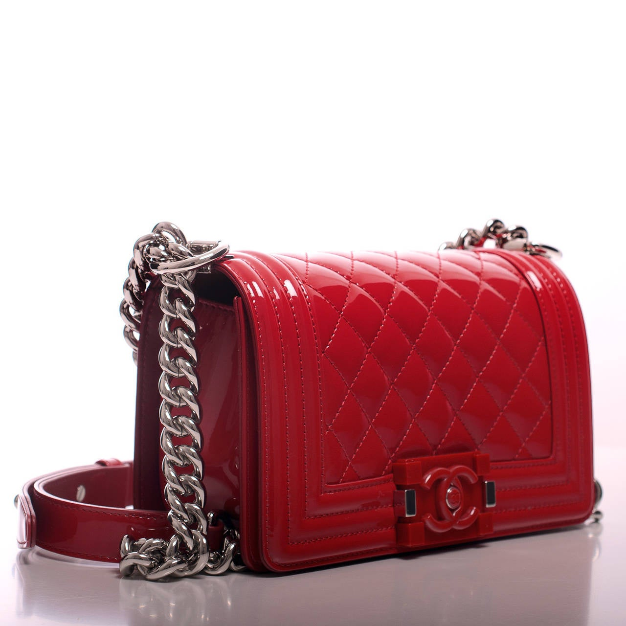 Chanel Red Quilted Patent Small Boy Bag At 1stdibs