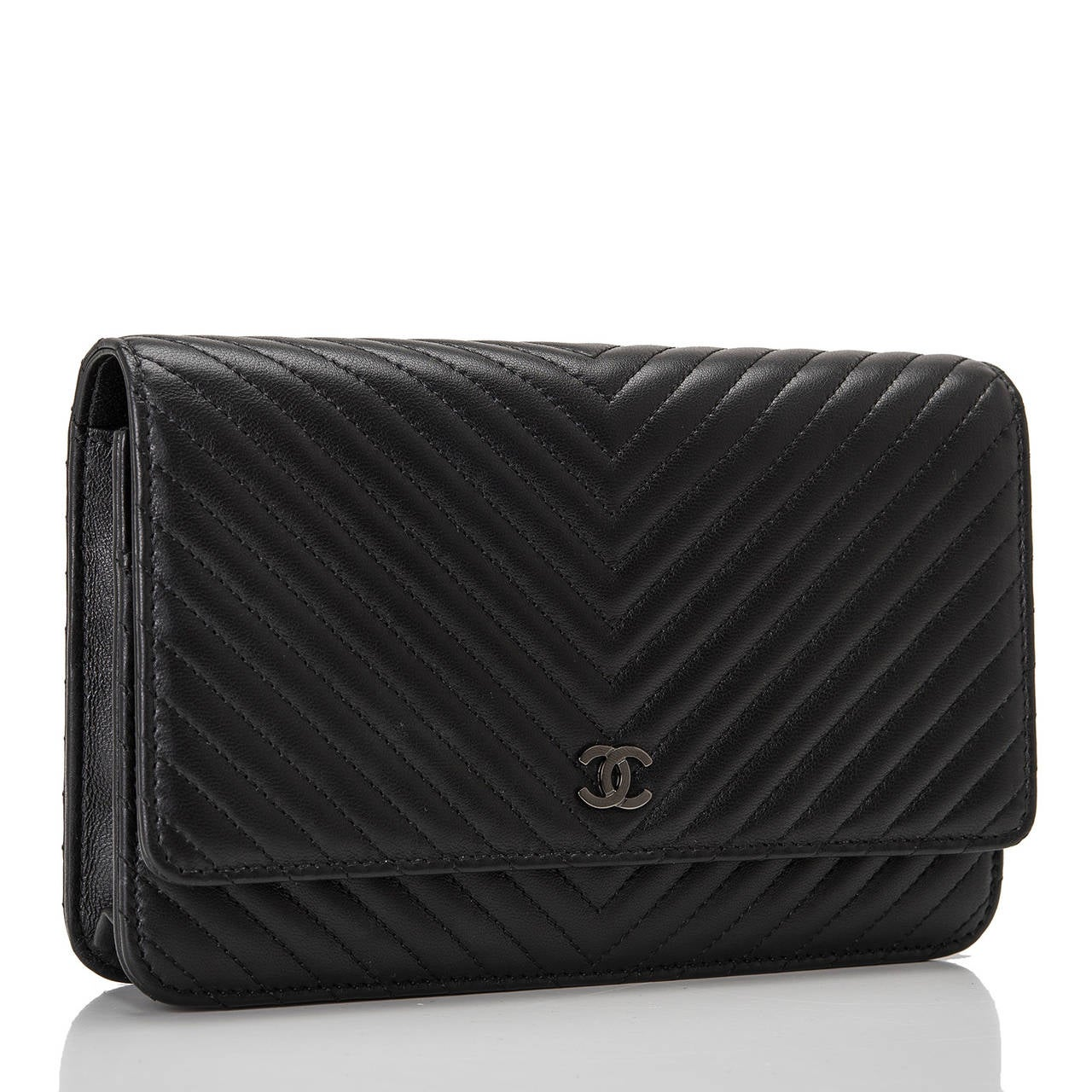 Chanel So Black Chevron Wallet On Chain Woc At 1stdibs