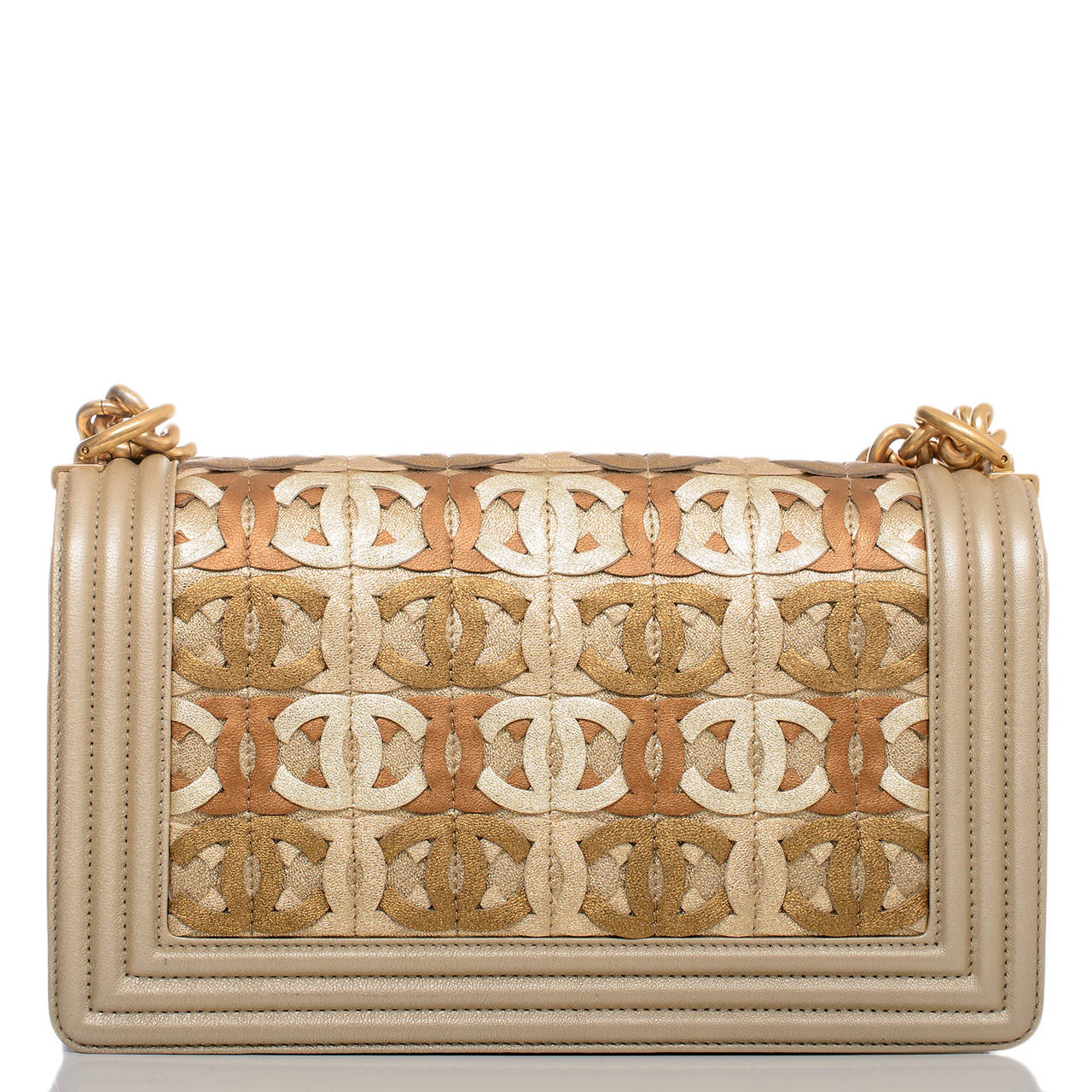 Chanel Runway Gold Metallic CC Embellished Lambskin Medium Boy Bag In New Never_worn Condition For Sale In New York, NY