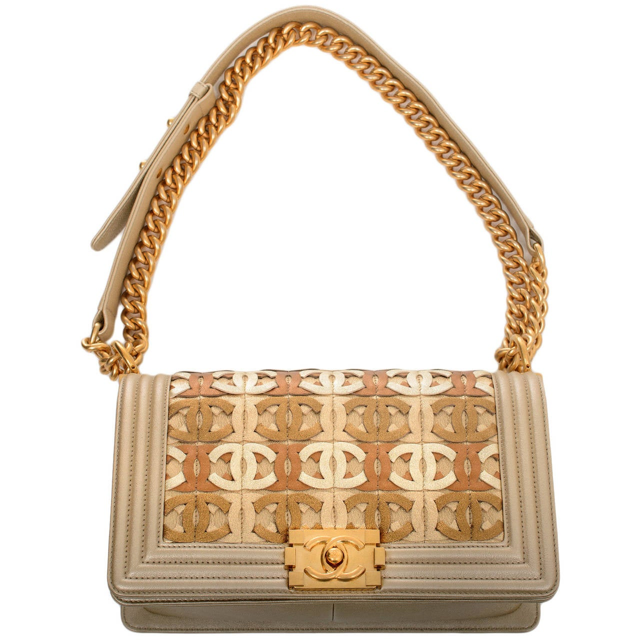 Chanel Runway Gold Metallic CC Embellished Lambskin Medium Boy Bag For Sale 1