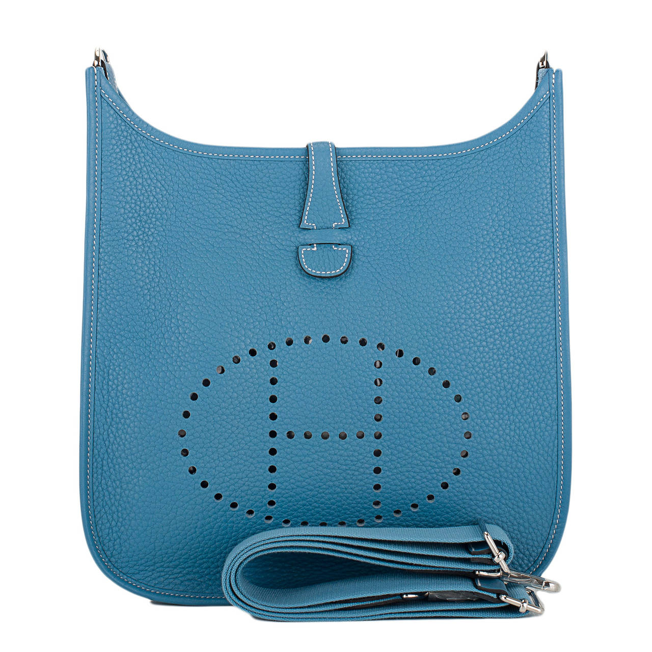 Hermes Blue Jean Clemence Evelyne III PM at 1stdibs