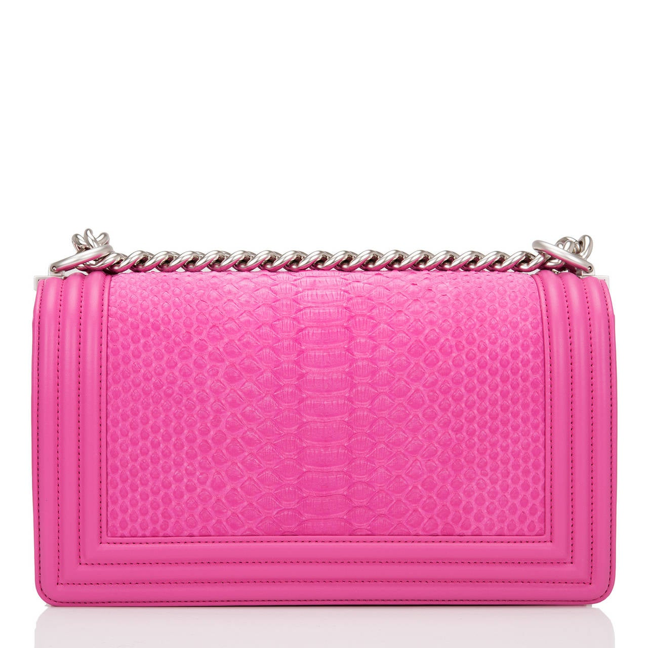 Chanel Pink Python Medium Boy Bag In New Never_worn Condition For Sale In New York, NY