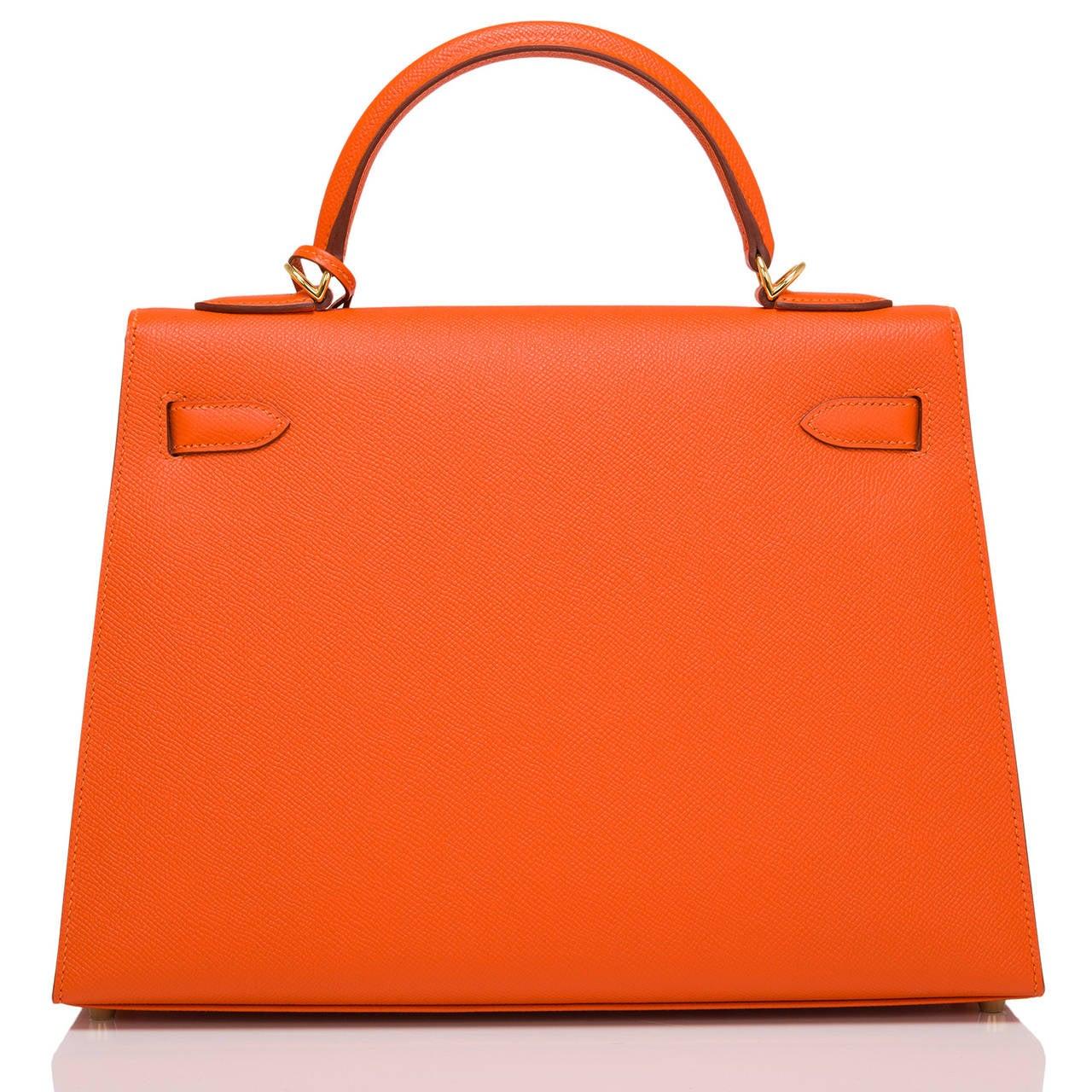 Red Hermes Orange H Epsom Kelly Sellier 32cm For Sale