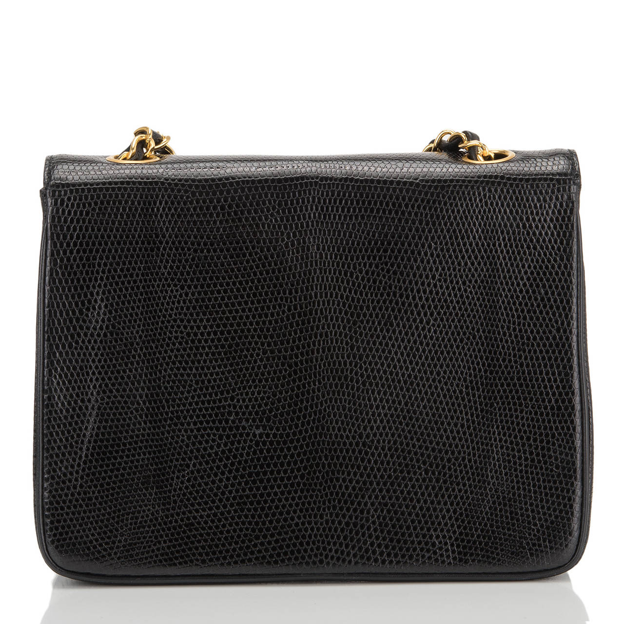 Chanel Vintage Black Lizard Large Mini Flap Bag In Excellent Condition For Sale In New York, NY