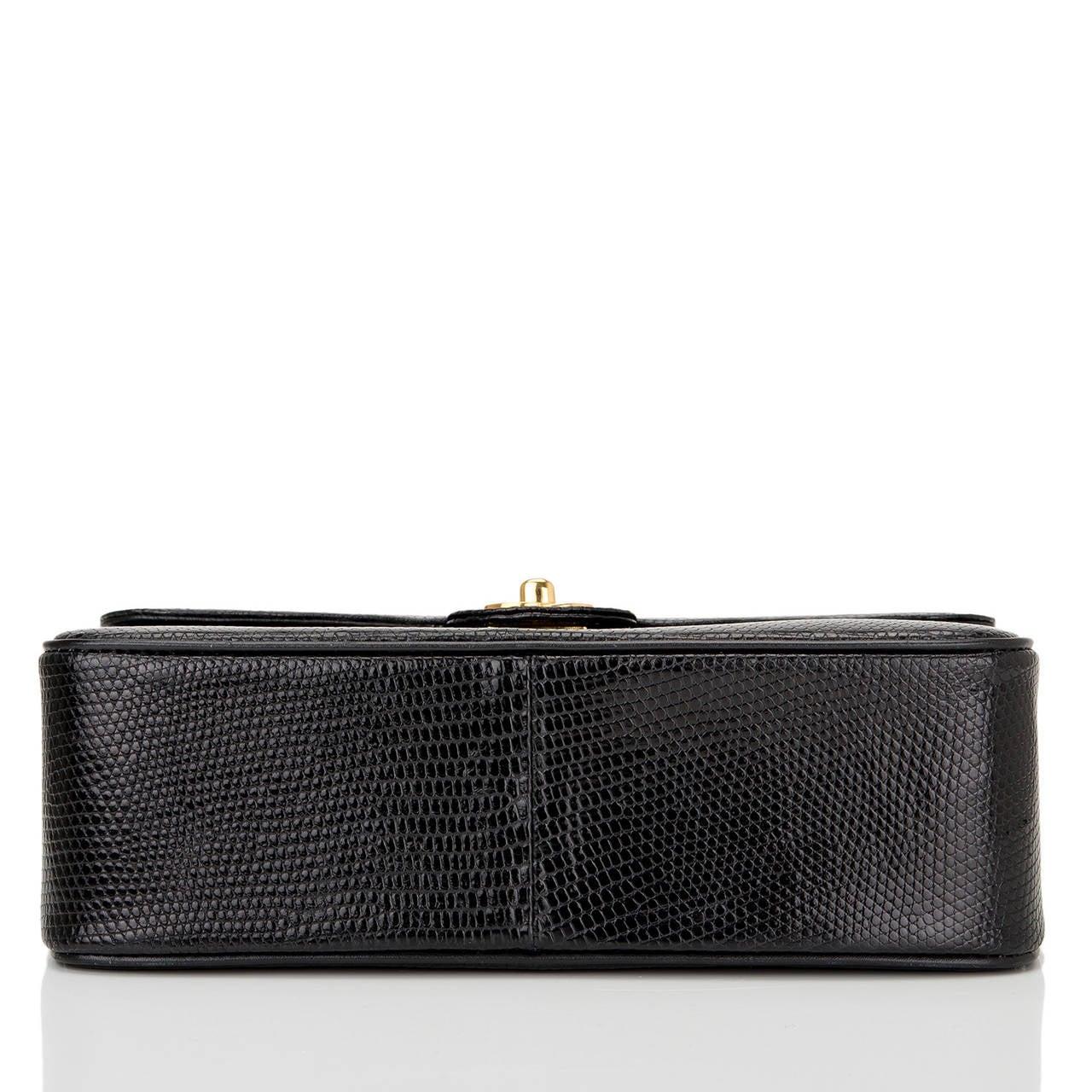 Women's Chanel Vintage Black Lizard Large Mini Flap Bag For Sale