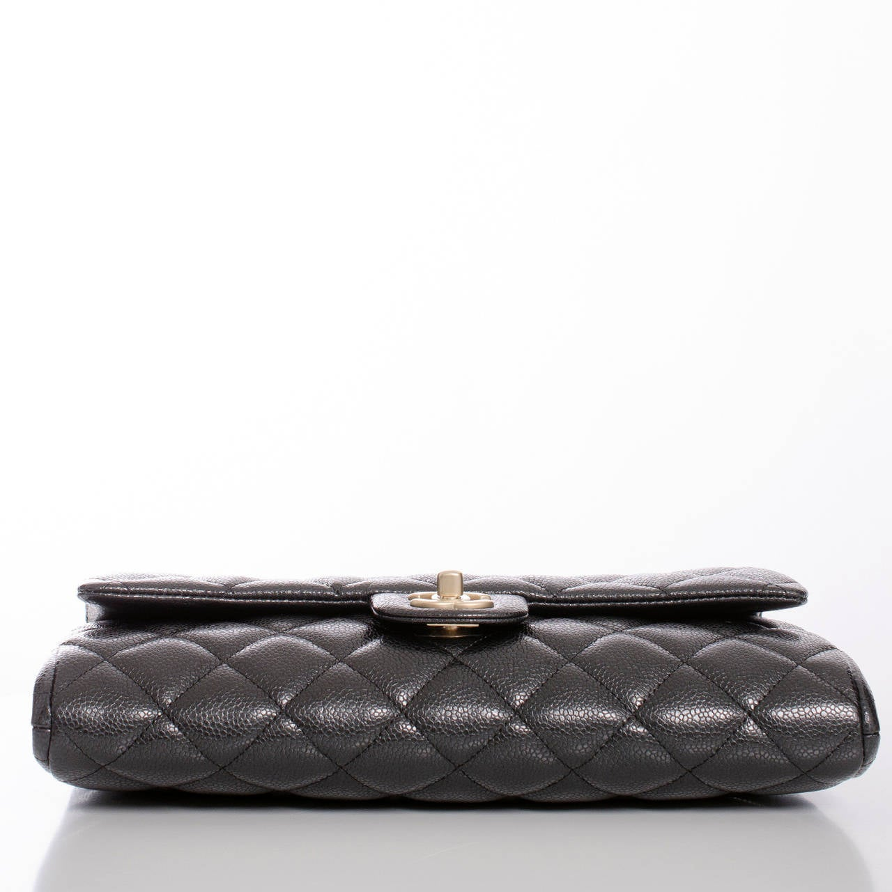 Women's Chanel Black Quilted Caviar New Clutch With Chain For Sale