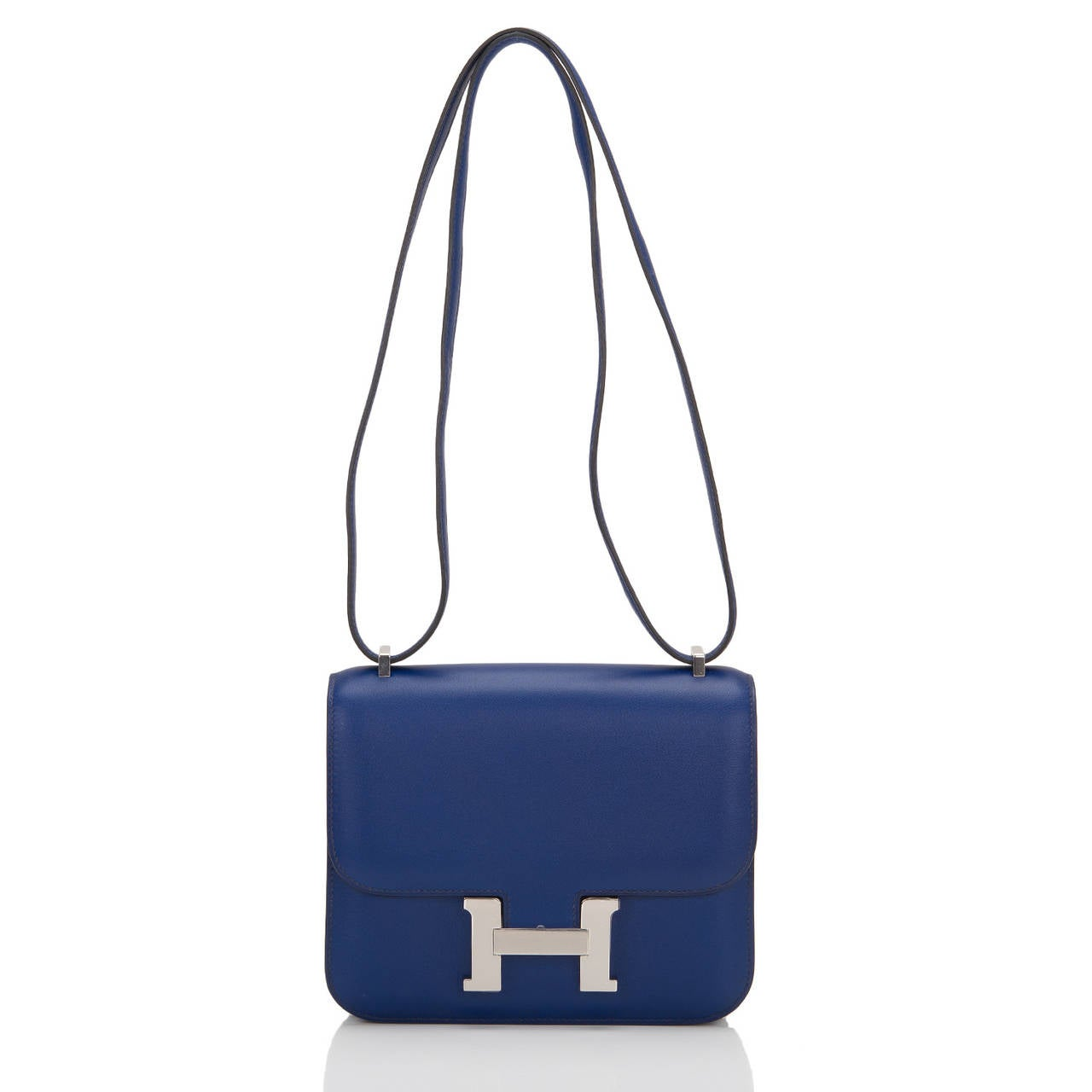 Women's Hermes Blue Sapphire Swift Mini Constance 18cm For Sale