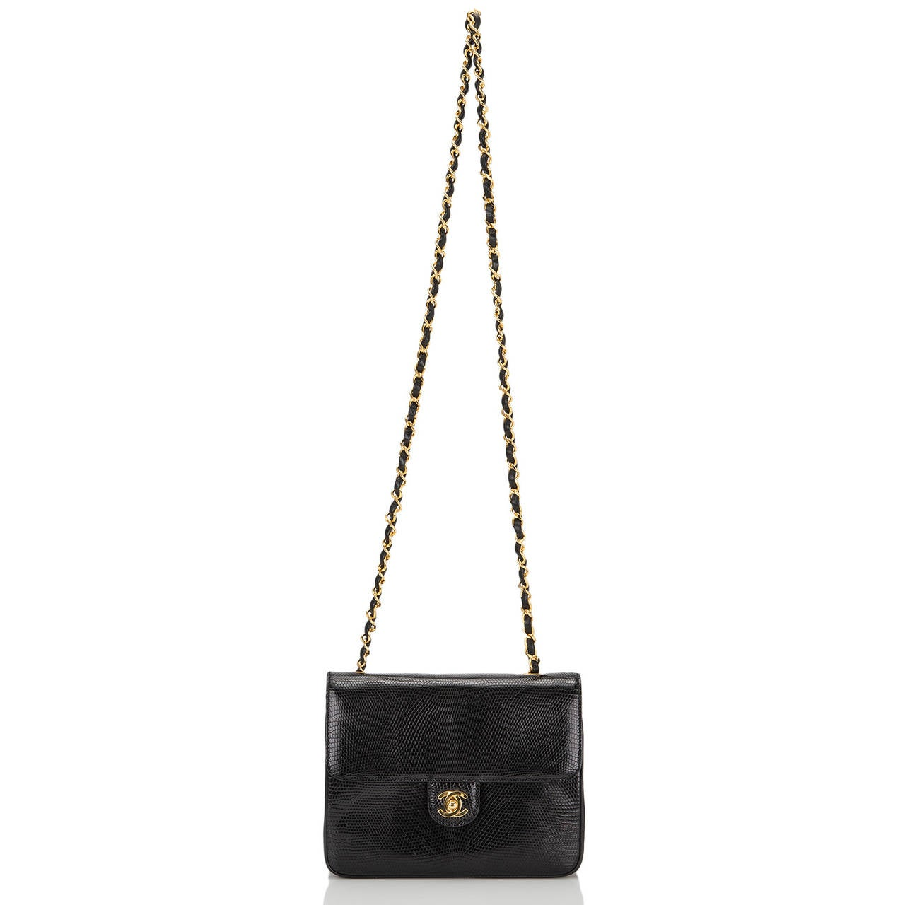Chanel Vintage Black Lizard Large Mini Flap Bag For Sale 1