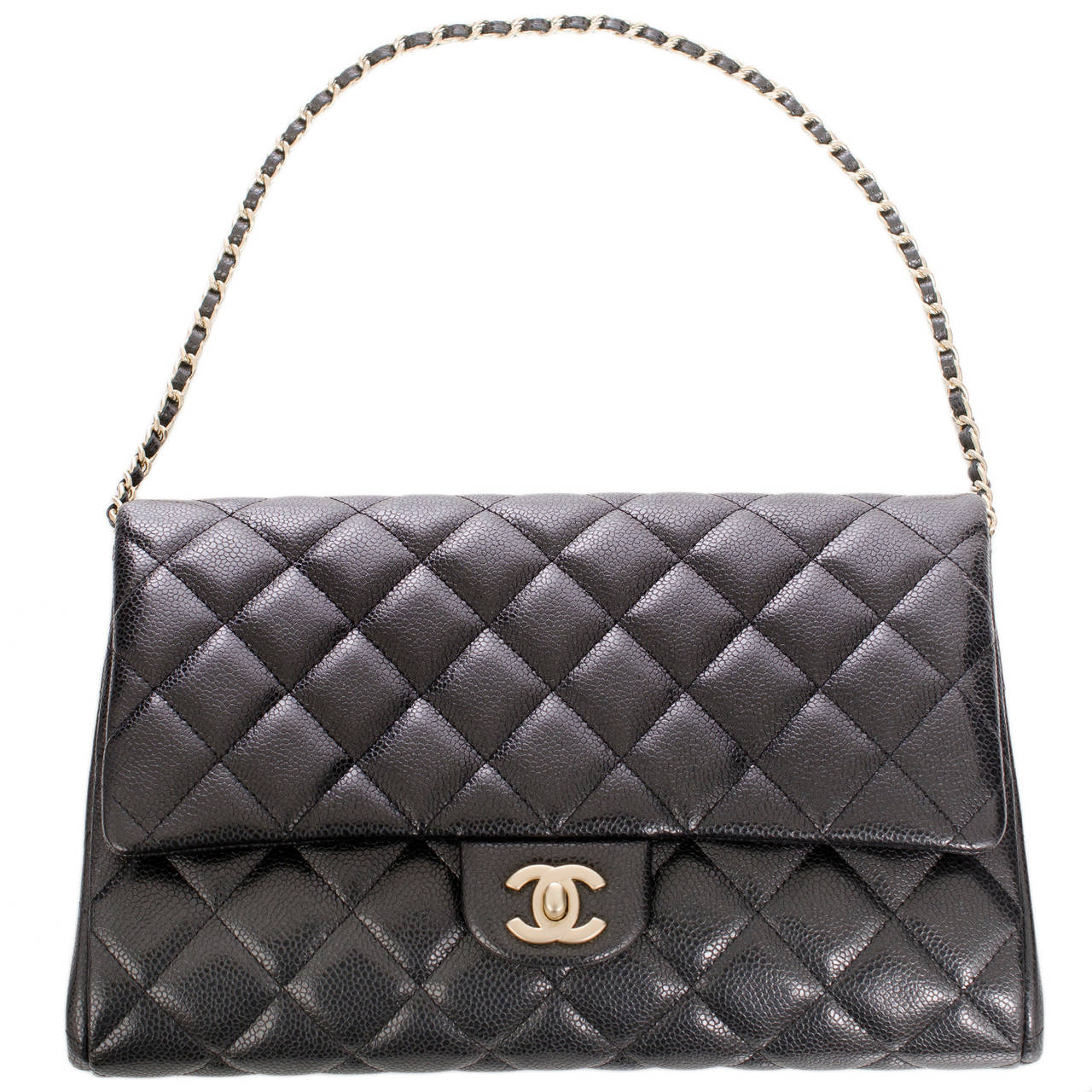 Chanel Black Quilted Caviar New Clutch With Chain For Sale 1