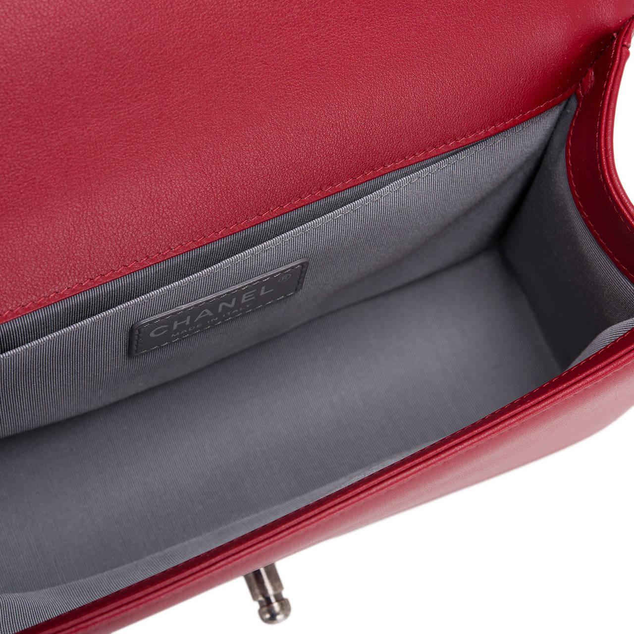 Chanel Red Chevron Medium Boy Bag For Sale 2