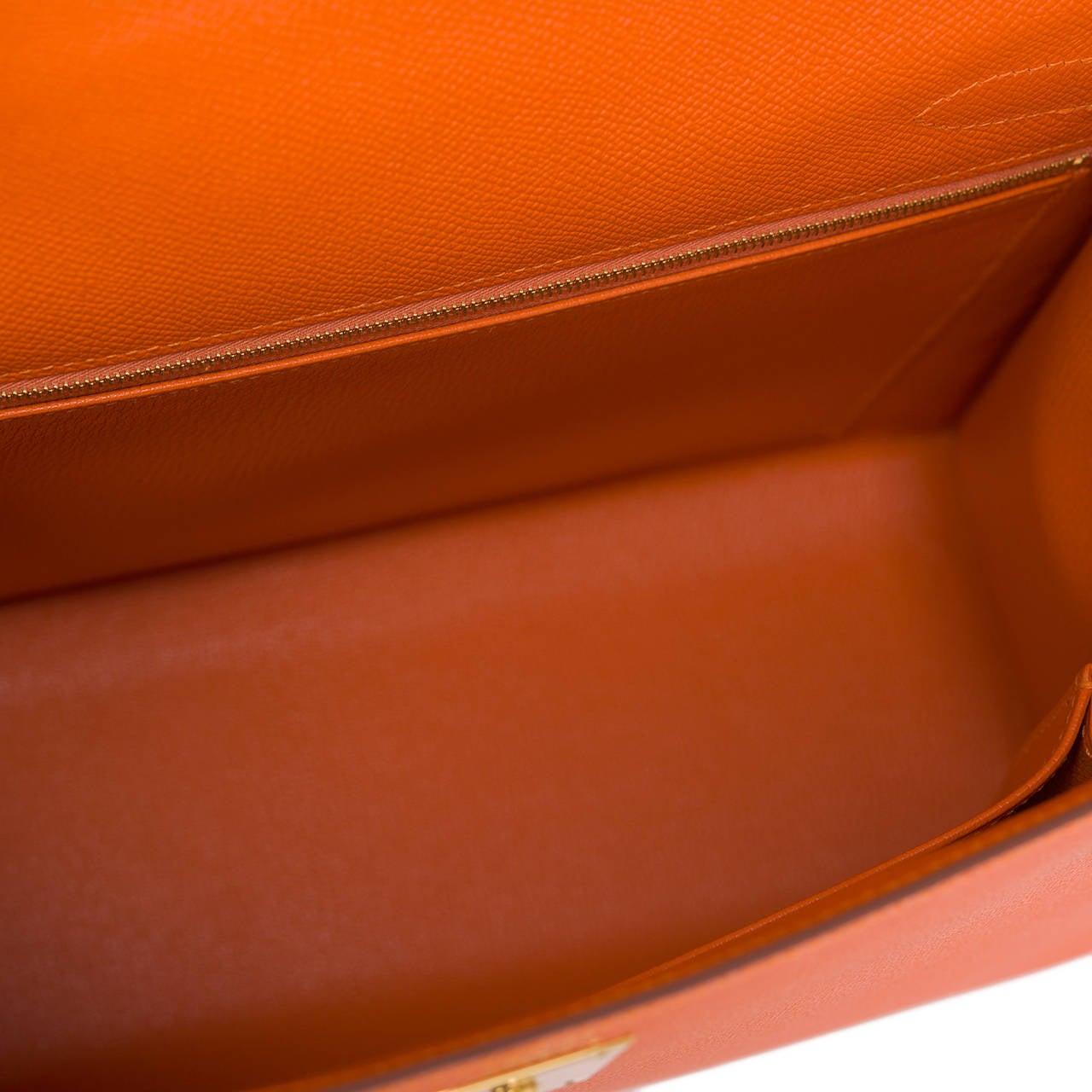 Hermes Orange H Epsom Kelly Sellier 32cm For Sale 1