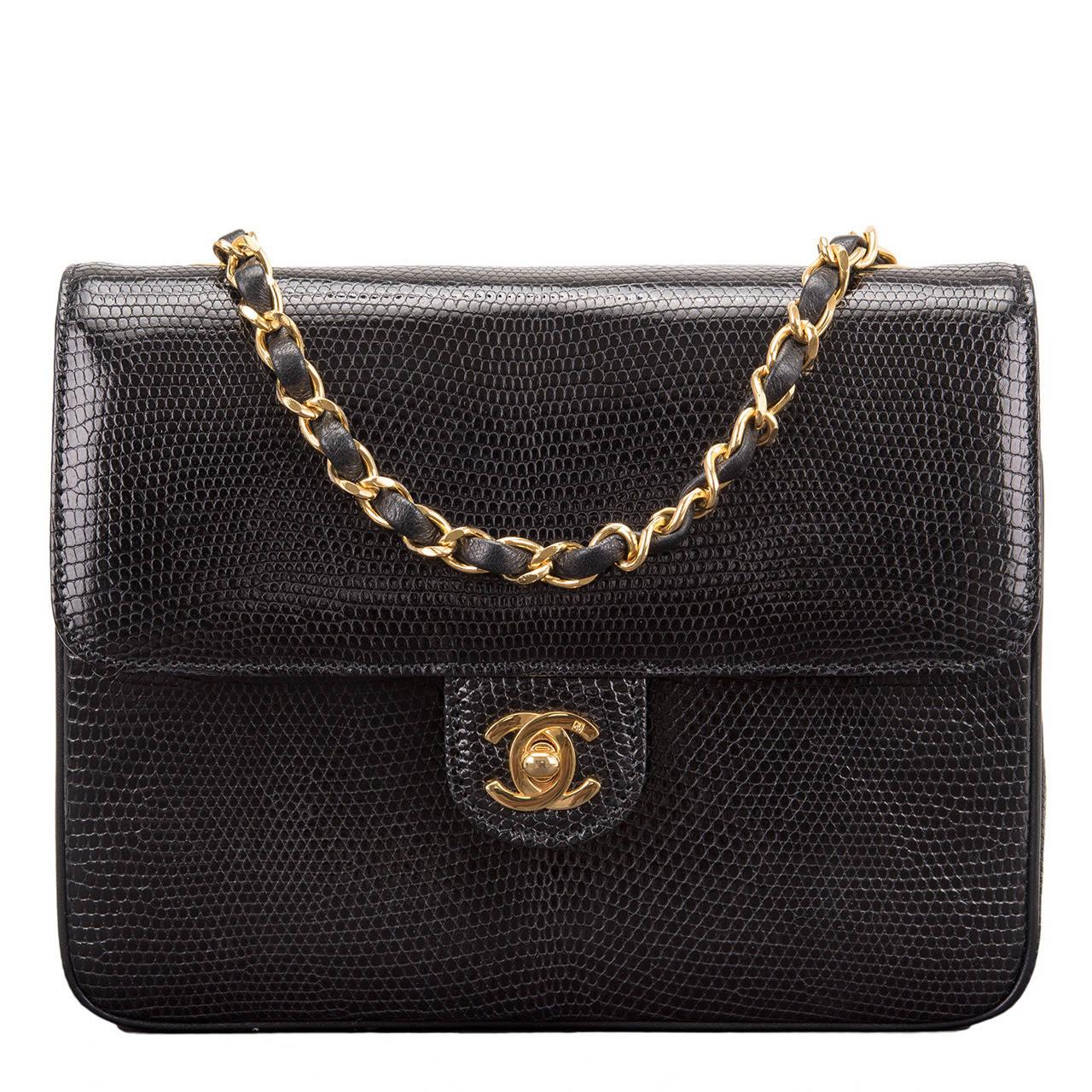 Chanel Vintage Black Lizard Large Mini Flap Bag For Sale