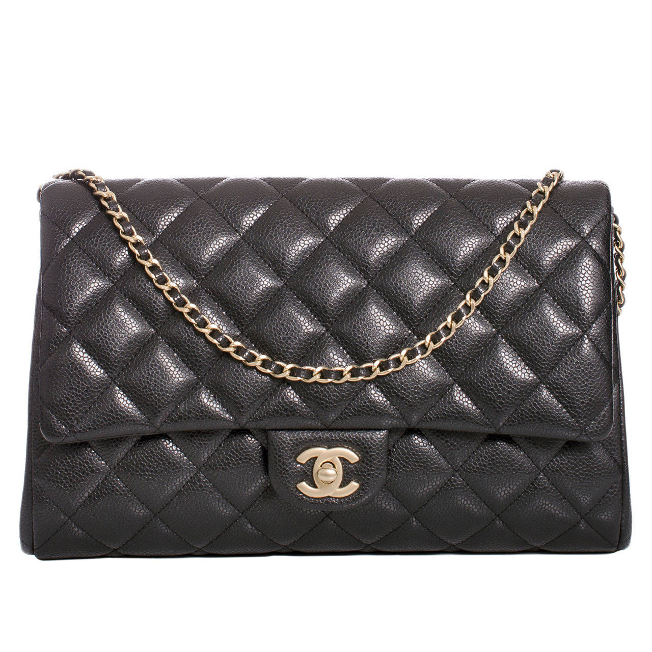 Chanel Black Quilted Caviar New Clutch With Chain For Sale