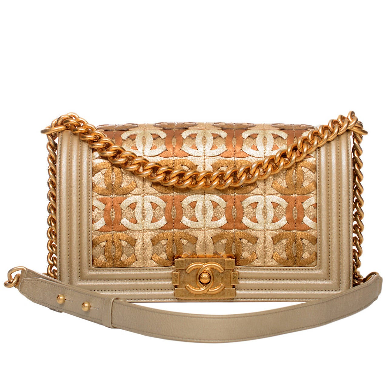Chanel Runway Gold Metallic CC Embellished Lambskin Medium Boy Bag For Sale