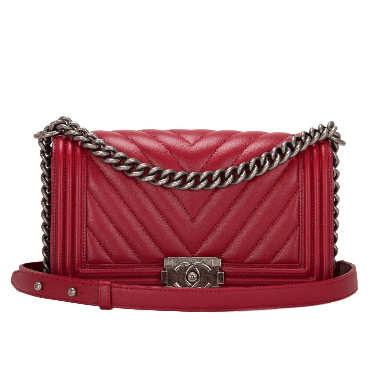 Chanel Red Chevron Medium Boy Bag At 1stdibs