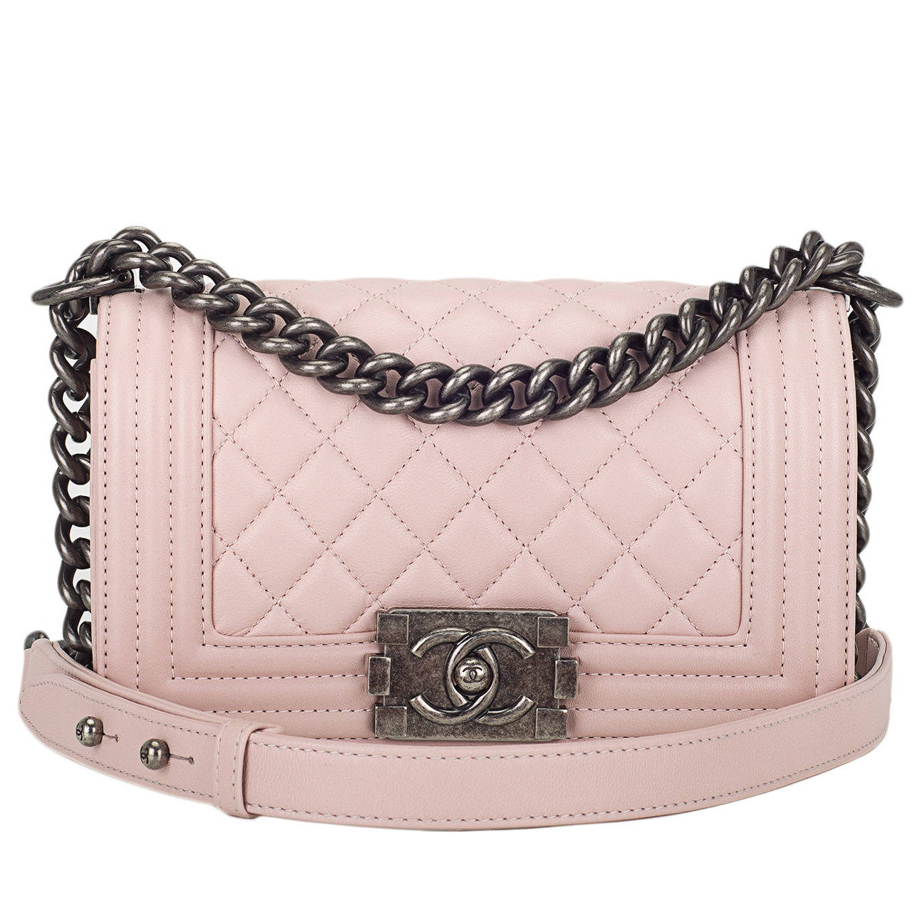 Chanel Light Pink Quilted Lambskin Small Boy Bag For