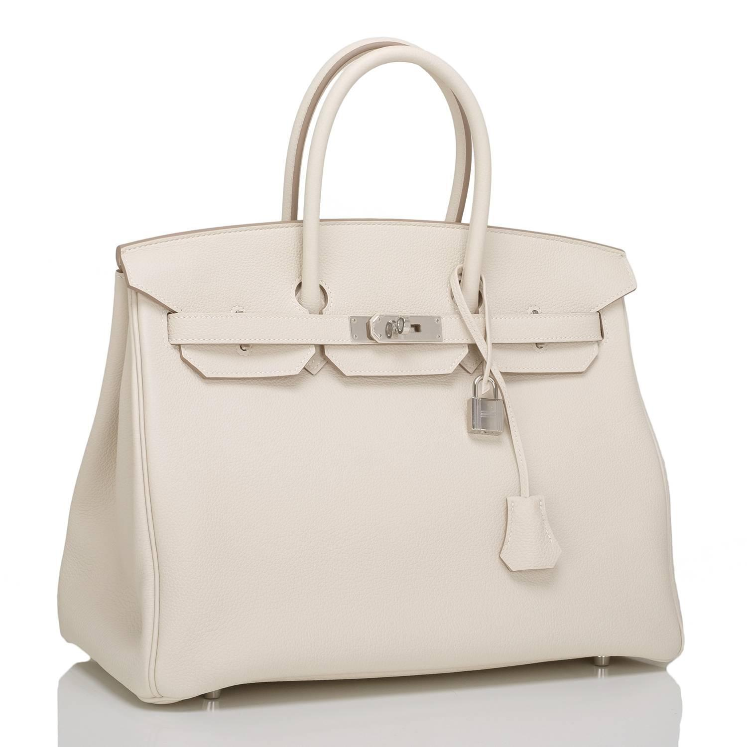 birkins handbags - Hermes Craie Togo Birkin 35cm Palladium Hardware For Sale at 1stdibs