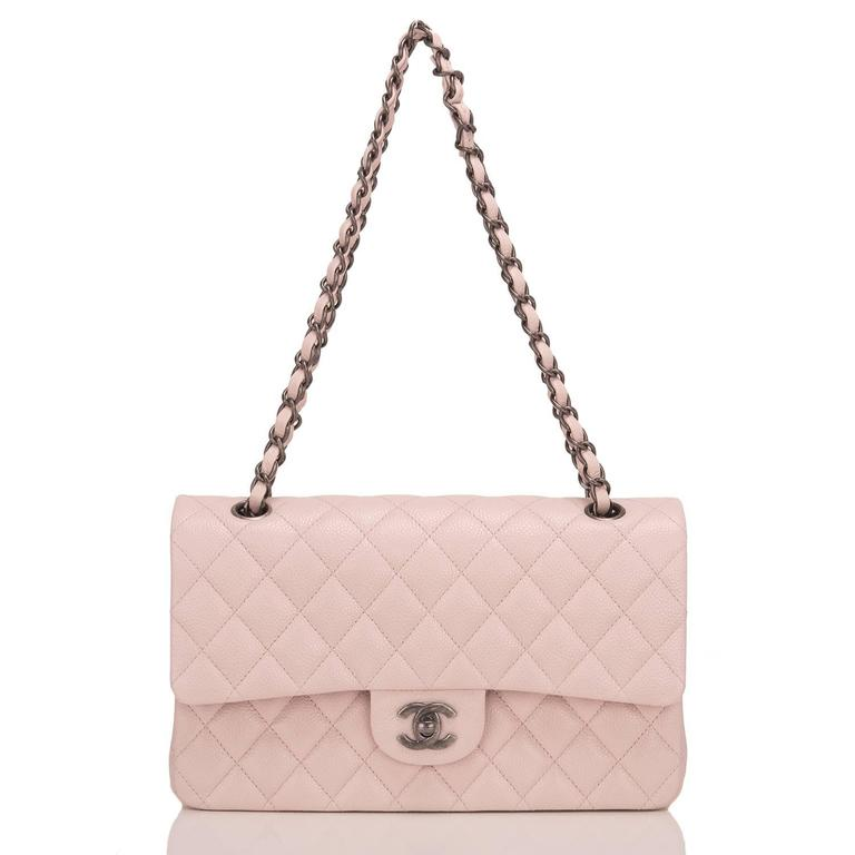 Women's Chanel Light Pink Quilted Caviar Medium Classic Double Flap Bag For Sale