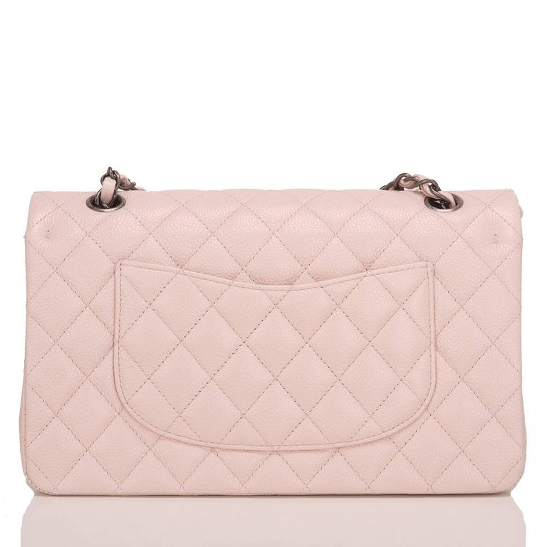Beige Chanel Light Pink Quilted Caviar Medium Classic Double Flap Bag For Sale