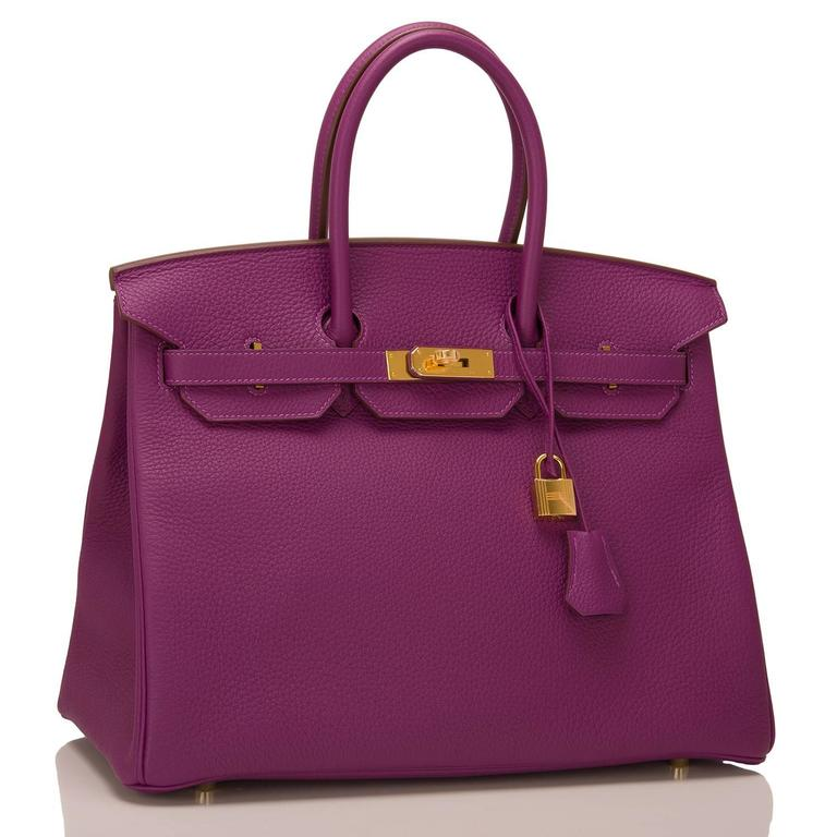 Hermes Anemone Birkin 35cm of togo with gold hardware.