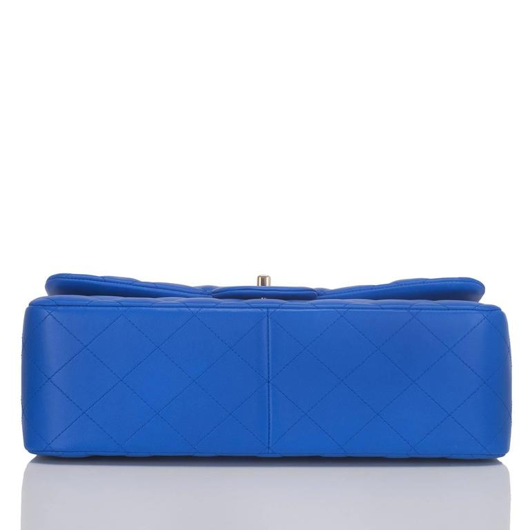 Women's Chanel Blue Quilted Lambskin Jumbo Classic Double Flap Bag For Sale