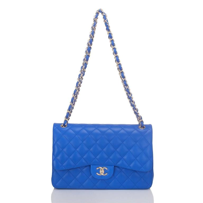 Chanel Blue Quilted Lambskin Jumbo Classic Double Flap Bag For Sale 1