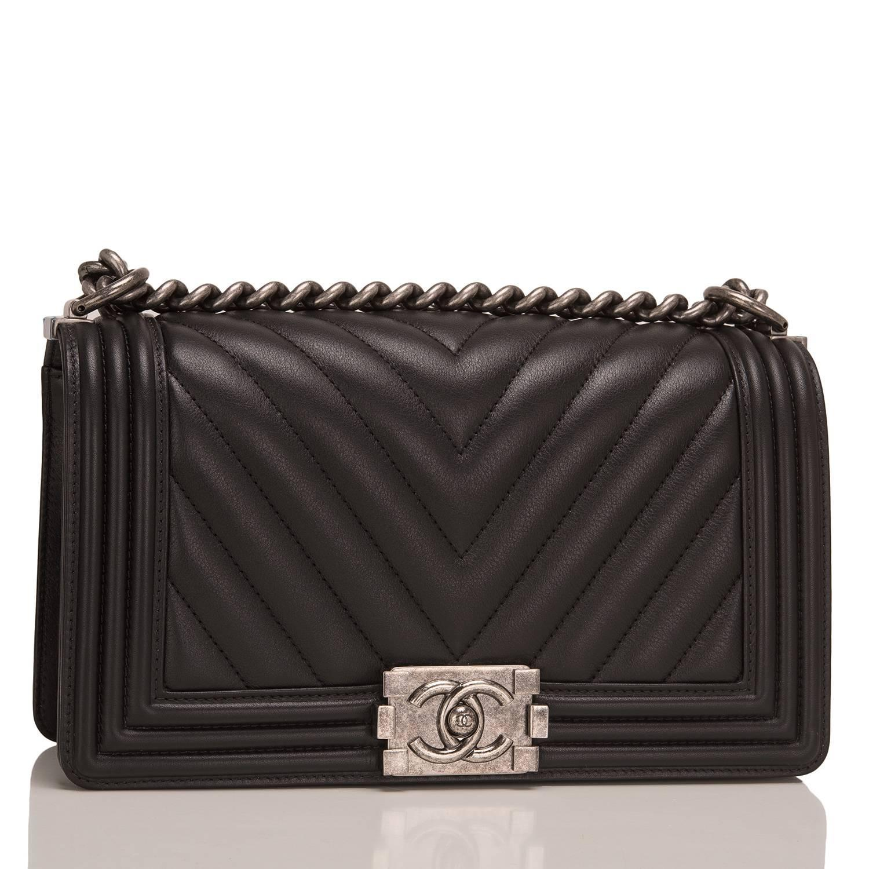 9d88c354edfa0f Chanel Black Chevron Quilted Lambskin Medium Boy Bag | Stanford ...