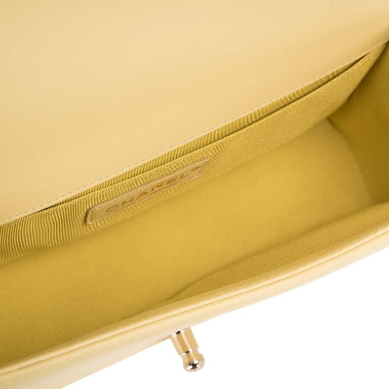 Chanel Yellow Lambskin Medium Boy Shoulder Bag For Sale 1