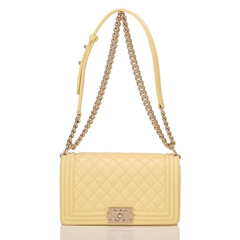 Women's Chanel Yellow Lambskin Medium Boy Shoulder Bag For Sale
