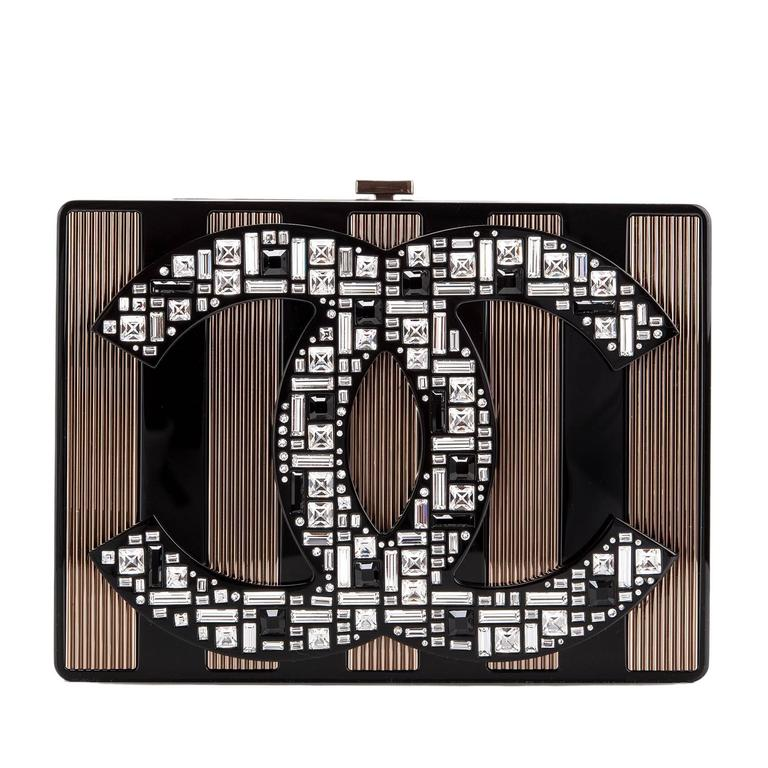 "Chanel limited edition, runway ""CC"" logo minaudiere of black plexiglass with black plexiglass and copper tone hardware.