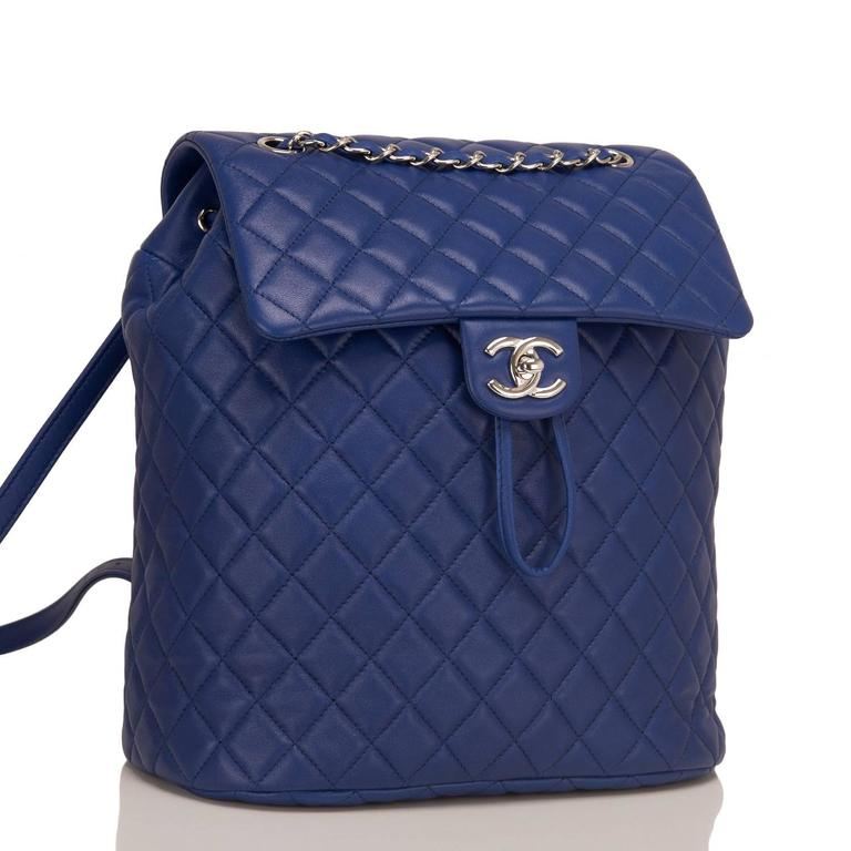 Chanel Urban Spirit large backpack of blue quilted lambskin leather with silver tone hardware.