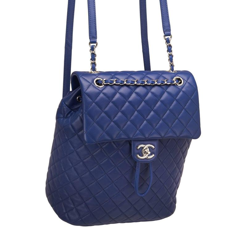 Women's Chanel Urban Spirit Blue Quilted Lambskin Large Backpack For Sale