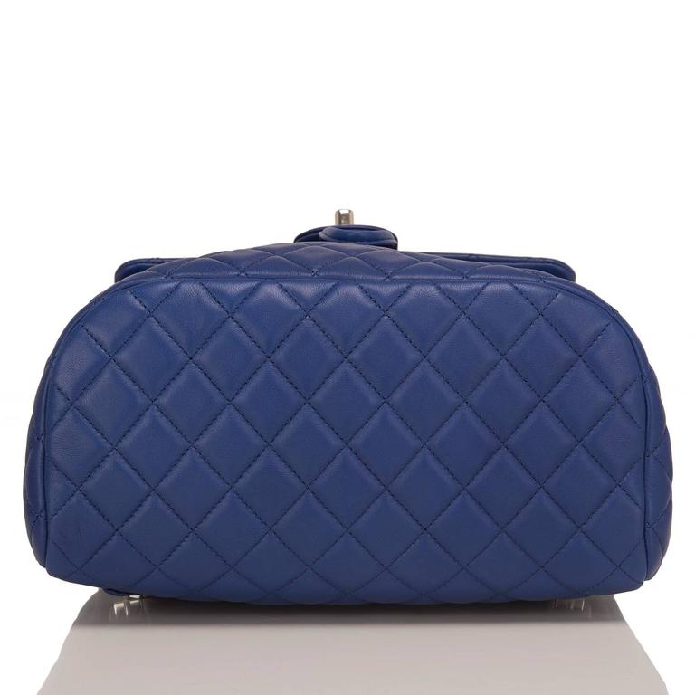 Chanel Urban Spirit Blue Quilted Lambskin Large Backpack In New Never_worn Condition For Sale In New York, NY