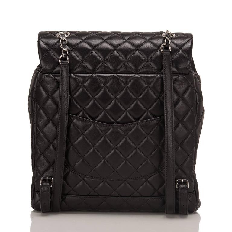 Chanel Urban Spirit Black Quilted Lambskin Large Backpack In New never worn Condition For Sale In New York, NY