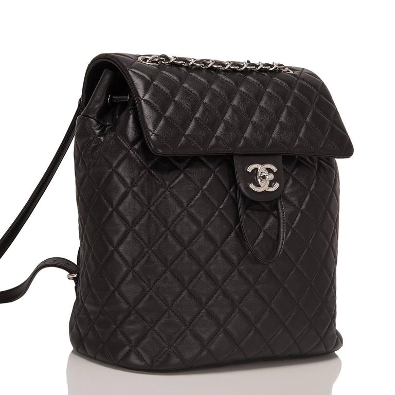 Chanel Urban Spirit large backpack of black quilted lambskin leather with silver tone hardware.