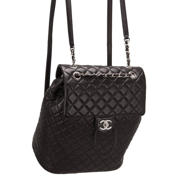 Chanel Urban Spirit Black Quilted Lambskin Large Backpack For Sale 1