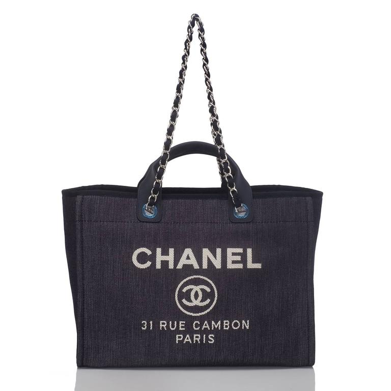 Women's Chanel Dark Blue Denim Large Deauville Shopping Tote Bag For Sale