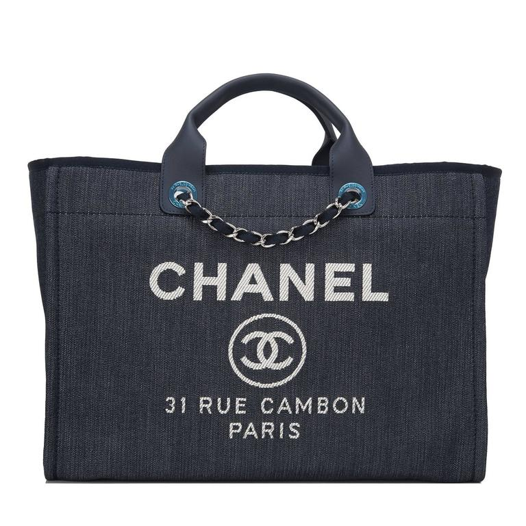 Chanel Dark Blue Denim Large Deauville Shopping Tote Bag For Sale