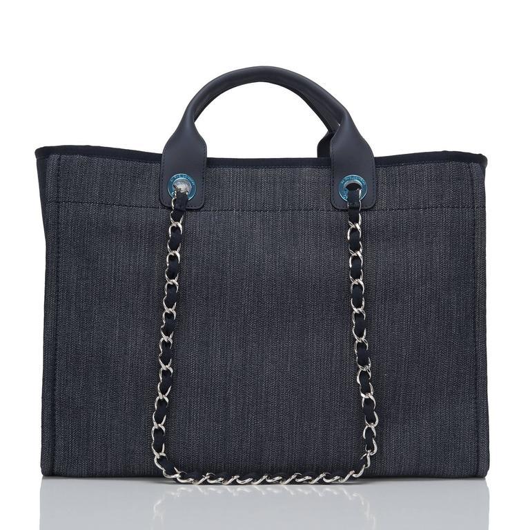 Black Chanel Dark Blue Denim Large Deauville Shopping Tote Bag For Sale