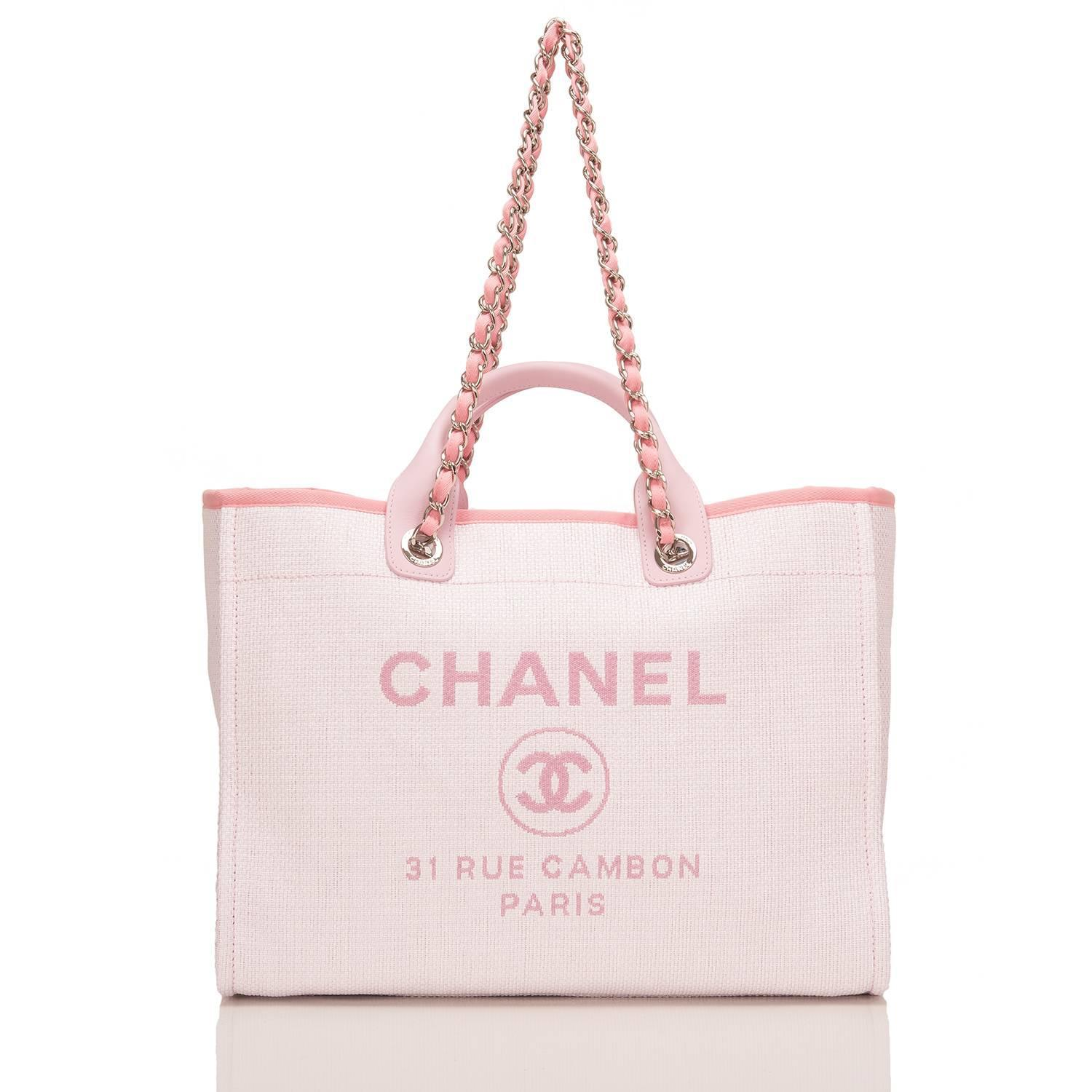 Chanel Pink Canvas Large Deauville Shopping Tote Bag at ...