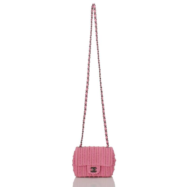 Chanel Pink Embroidered Lambskin Square Mini Flap Bag NEW For Sale 1
